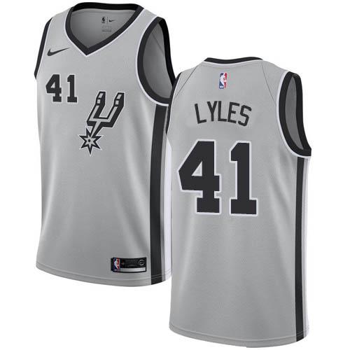 Nike Spurs #41 Trey Lyles Silver NBA Swingman Statement Edition Jersey