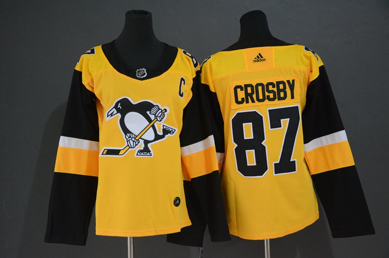 Penguins #87 Sidney Crosby Yellow Women Adidas Jersey
