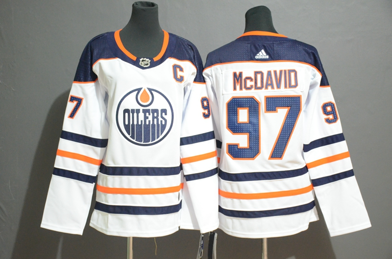 Oilers #97 Connor McDavid White Youth Adidas Jersey