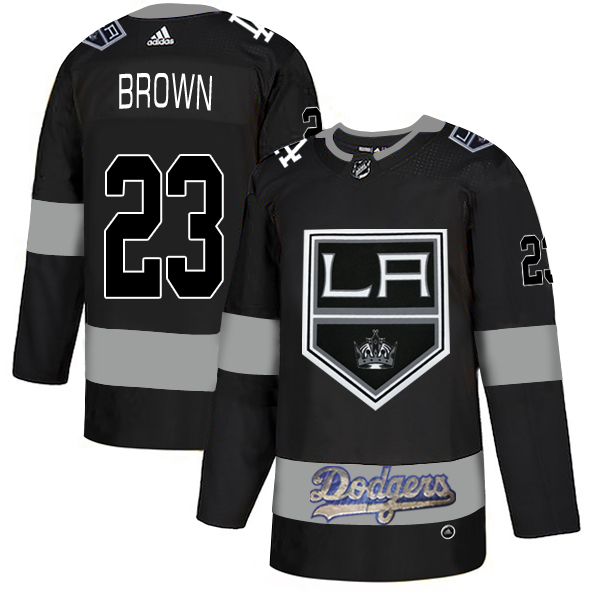 LA Kings With Dodgers #23 Dustin Brown Black Adidas Jersey