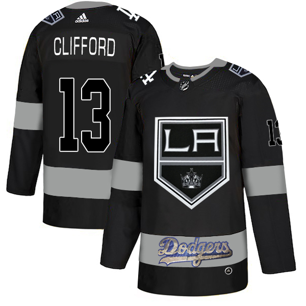 LA Kings With Dodgers #13 Kyle Clifford Black Adidas Jersey