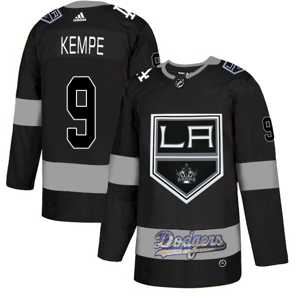 LA Kings With Dodgers #9 Adrian Kempe Black Adidas Jersey