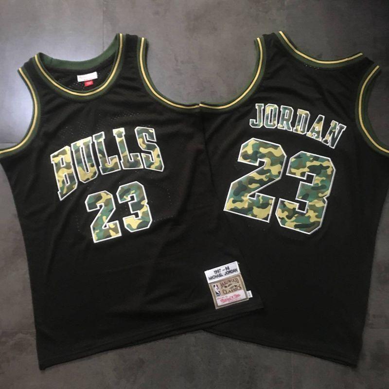 Bulls #23 Michael Jordan Black Camo 1997-98 Hardwood Classics Jersey