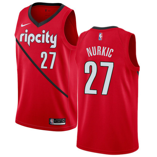 Nike Blazers #27 Jusuf Nurkic Red NBA Swingman Earned Edition Jersey