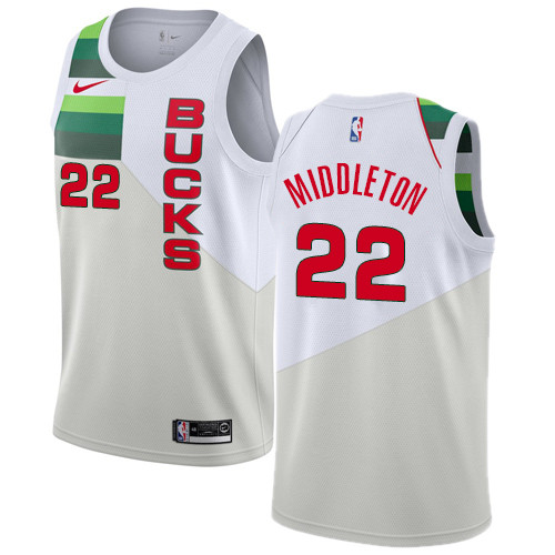 Nike Bucks #22 Khris Middleton White NBA Swingman Earned Edition Jersey