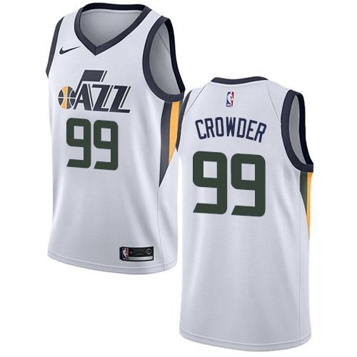 Nike Jazz #99 Jae Crowder White NBA Swingman Association Edition Jersey