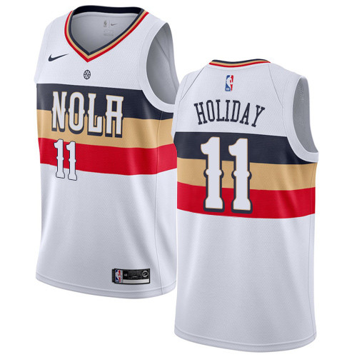 Nike Pelicans #11 Jrue Holiday White NBA Swingman Earned Edition Jersey