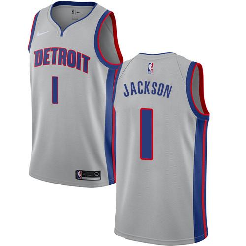 Nike Pistons #1 Reggie Jackson Silver NBA Swingman Statement Edition Jersey