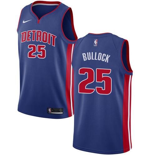 Nike Pistons #25 Reggie Bullock Blue NBA Swingman Icon Edition Jersey