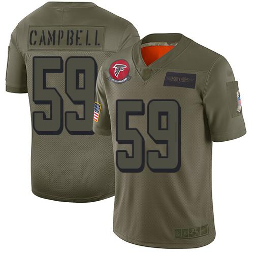 Falcons #59 De'Vondre Campbell Camo Men's Stitched NFL Limited 2019 Salute To Service Jersey