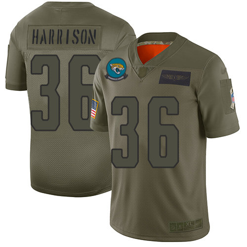 Nike Jaguars #36 Ronnie Harrison Camo Men's Stitched NFL Limited 2019 Salute To Service Jersey