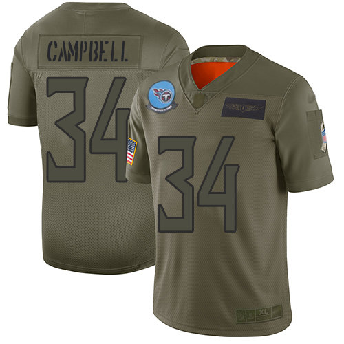 Nike Titans #34 Earl Campbell Camo Men's Stitched NFL Limited 2019 Salute To Service Jersey
