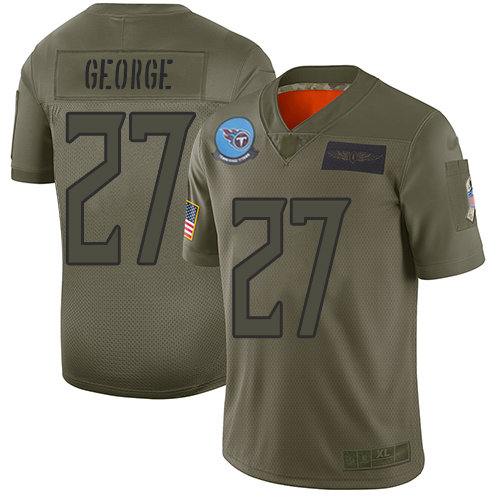 Nike Titans #27 Eddie George Camo Men's Stitched NFL Limited 2019 Salute To Service Jersey