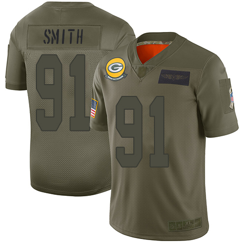 Packers #91 Preston Smith Camo Men's Stitched NFL Limited 2019 Salute To Service Jersey