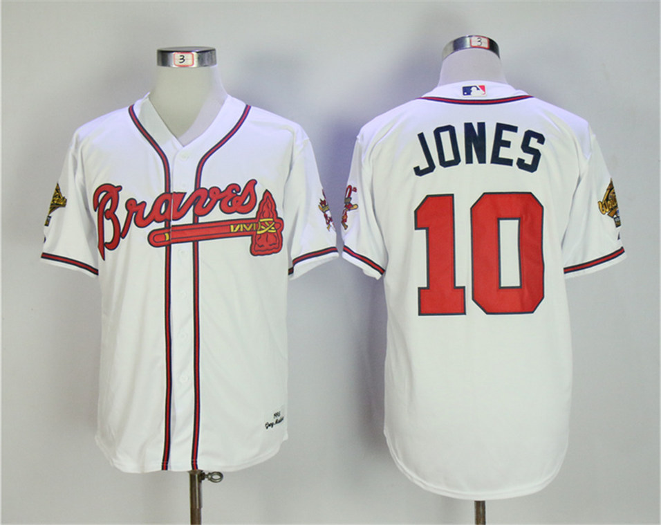 Braves 10 Chipper Jones White 1995 Throwback Jersey