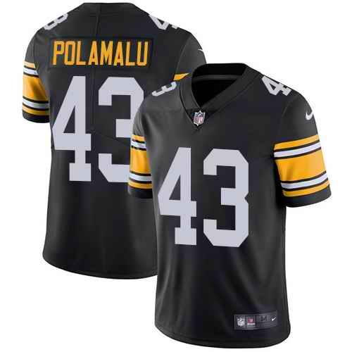 Youth Nike Steelers 43 Troy Polamalu Black Alternate Vapor Untouchable Limited Jersey