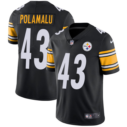 Youth Nike Steelers 43 Troy Polamalu Black Vapor Untouchable Player Limited Jersey