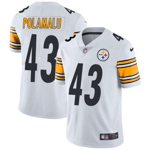Youth Nike Steelers 43 Troy Polamalu White Vapor Untouchable Player Limited Jersey