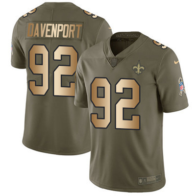 Youth Nike Saints #92 Marcus Davenport Olive Gold Stitched NFL Limited 2017 Salute to Service Jersey