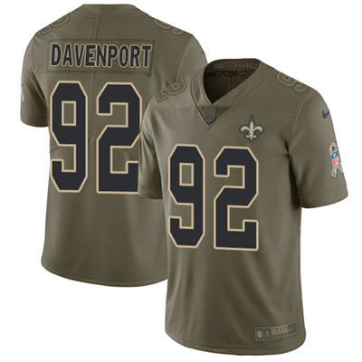 Youth Nike Saints #92 Marcus Davenport Olive Stitched NFL Limited 2017 Salute To Service Jersey