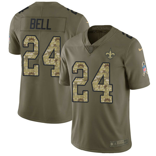 Youth Nike Saints #24 Vonn Bell Olive Camo Stitched NFL Limited 2017 Salute To Service Jersey