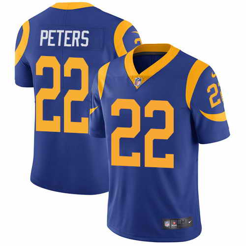 Youth Nike Rams #22 Marcus Peters Royal Blue Alternate Stitched NFL Vapor Untouchable Limited Jersey