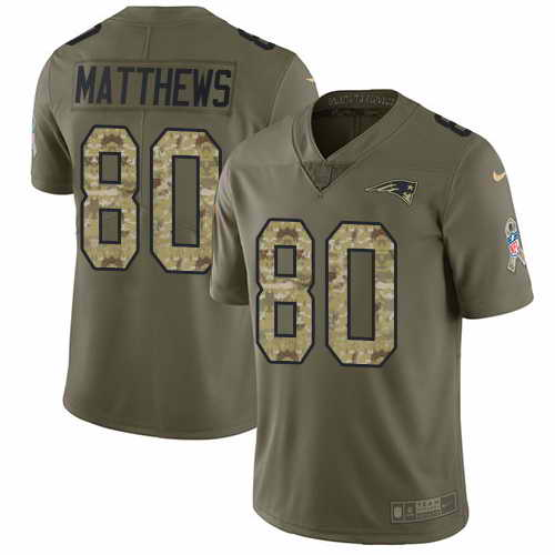 Youth Nike Patriots #80 Jordan Matthews Olive Camo Stitched NFL Limited 2017 Salute To Service Jersey
