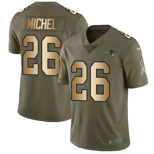 Youth Nike Patriots #26 Sony Michel Olive Gold Stitched NFL Limited 2017 Salute to Service Jersey