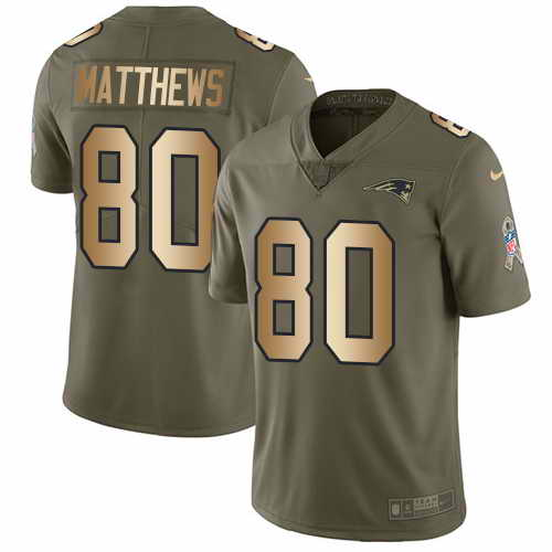 Youth Nike Patriots #80 Jordan Matthews Olive Gold Stitched NFL Limited 2017 Salute to Service Jersey