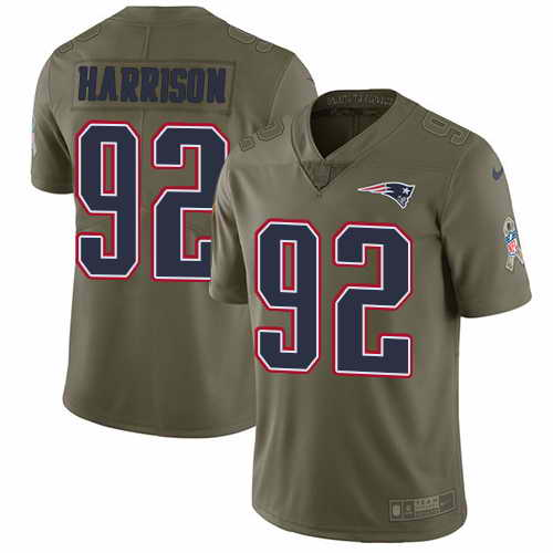 Youth Nike Patriots #92 James Harrison Olive Stitched NFL Limited 2017 Salute To Service Jersey