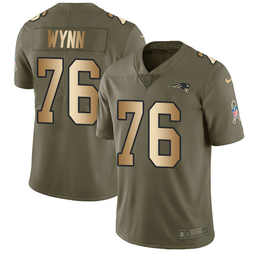 Youth Nike Patriots #76 Isaiah Wynn Olive Gold Stitched NFL Limited 2017 Salute to Service Jersey