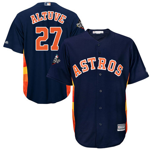 Astros #27 Jose Altuve Navy Blue New Cool Base 2019 World Series Bound Stitched Baseball Jersey
