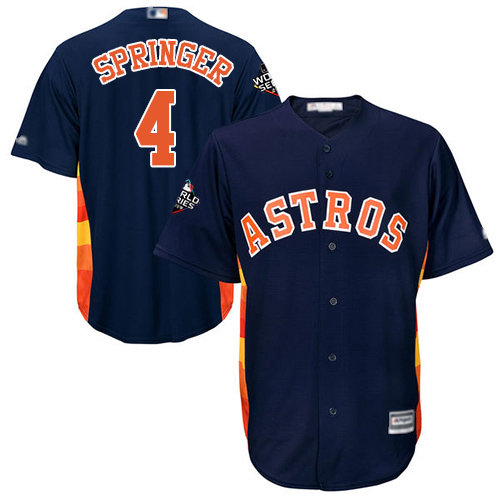Astros #4 George Springer Navy Blue New Cool Base 2019 World Series Bound Stitched Baseball Jersey