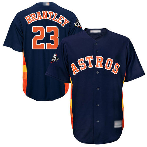 Astros #23 Michael Brantley Navy Blue New Cool Base 2019 World Series Bound Stitched Baseball Jersey