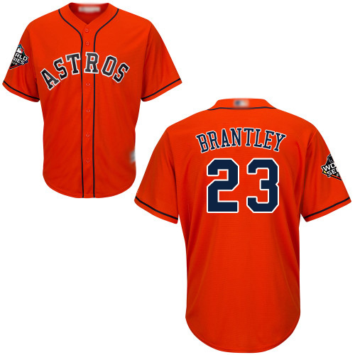 Astros #23 Michael Brantley Orange New Cool Base 2019 World Series Bound Stitched Baseball Jersey