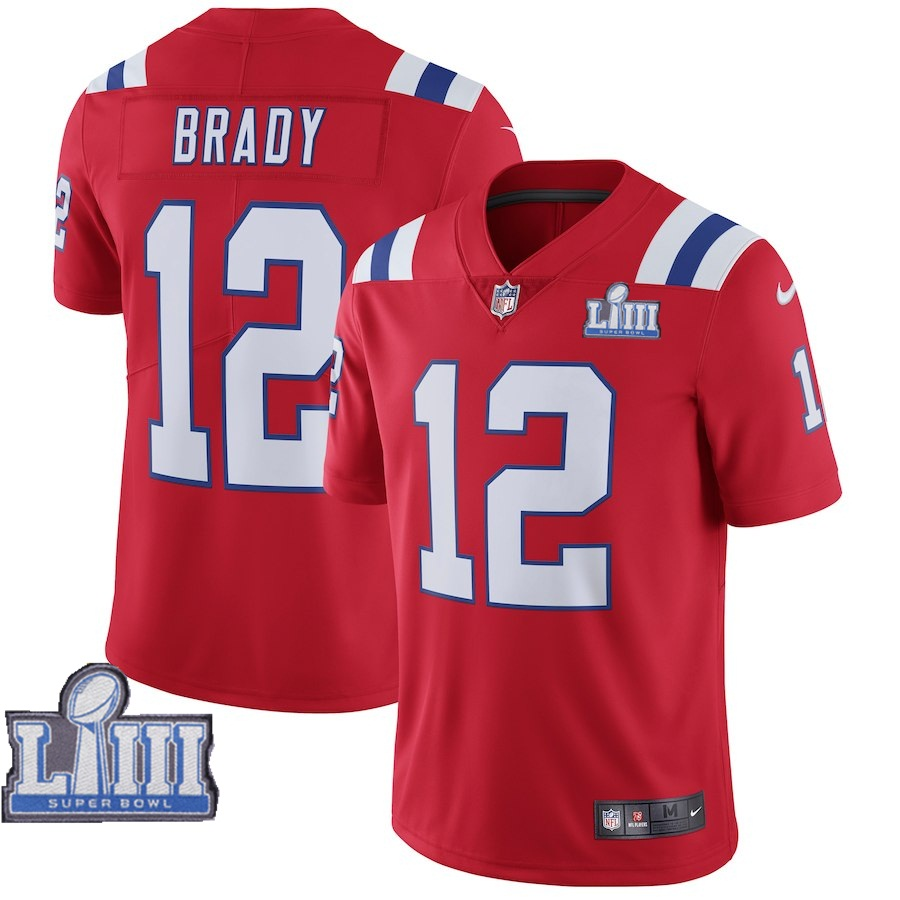 Nike Patriots #12 Tom Brady Red 2019 Super Bowl LIII Vapor Untouchable Limited Jersey