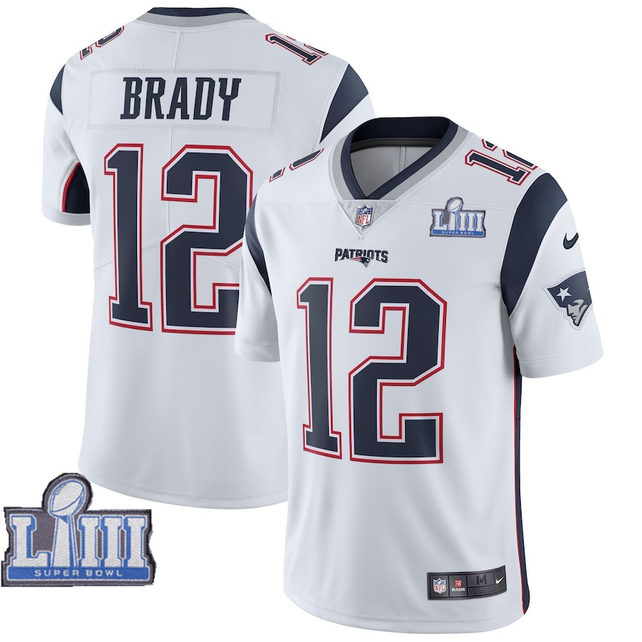 Nike Patriots #12 Tom Brady White 2019 Super Bowl LIII Vapor Untouchable Limited Jersey