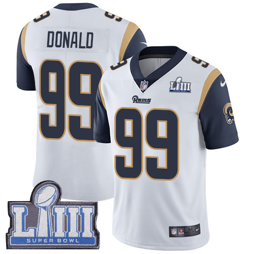 Nike Rams #99 Aaron Donald White 2019 Super Bowl LIII Vapor Untouchable Limited Jersey
