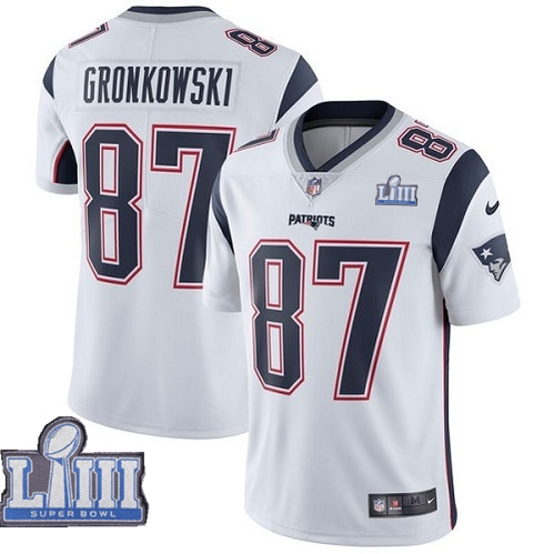Nike Patriots #87 Rob Gronkowski White Youth 2019 Super Bowl LIII Vapor Untouchable Limited Jersey