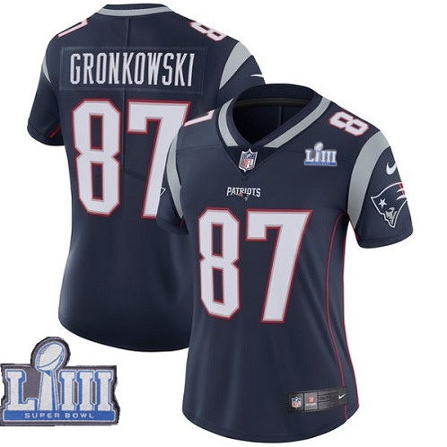 Nike Patriots #87 Rob Gronkowski Navy Women 2019 Super Bowl LIII Vapor Untouchable Limited Jersey