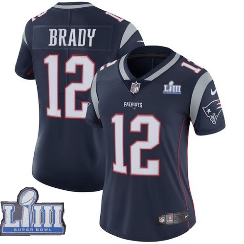 Nike Patriots #12 Tom Brady Navy Women 2019 Super Bowl LIII Vapor Untouchable Limited Jersey