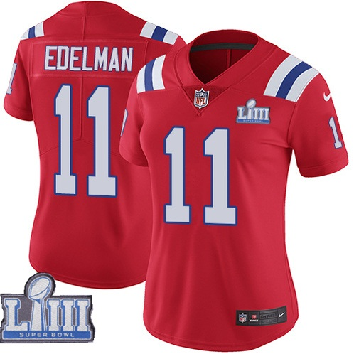 Nike Patriots #11 Julian Edelman Red Women 2019 Super Bowl LIII Vapor Untouchable Limited Jersey