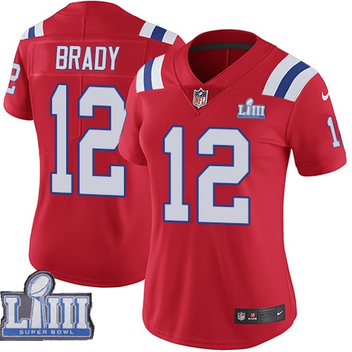 Nike Patriots #12 Tom Brady Red Women 2019 Super Bowl LIII Vapor Untouchable Limited Jersey