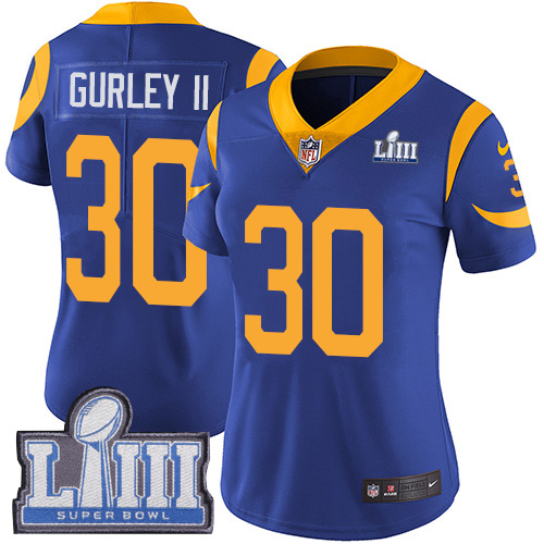 Nike Rams #30 Todd Gurley II Royal Women 2019 Super Bowl LIII Vapor Untouchable Limited Jersey