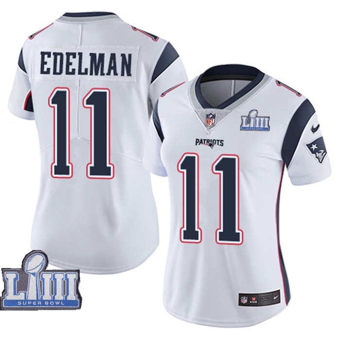 Nike Patriots #11 Julian Edelman White Women 2019 Super Bowl LIII Vapor Untouchable Limited Jersey