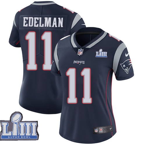 Nike Patriots #11 Julian Edelman Navy Women 2019 Super Bowl LIII Vapor Untouchable Limited Jersey
