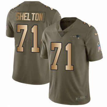 Men's Nike New England Patriots #71 Danny Shelton Limited Olive Gold 2017 Salute to Service NFL Jersey