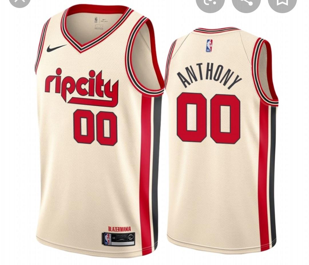 Blazers #00 Carmelo Anthony Cream Basketball Swingman City Edition 2019-20 Jersey