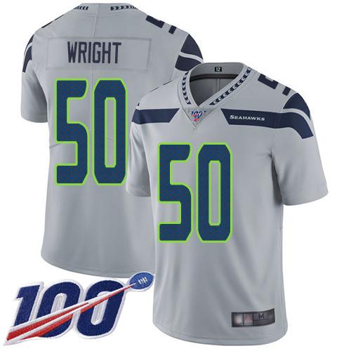 Men's Seattle Seahawks #50 K.J. Wright Grey Football Alternate Vapor Untouchable 100th Season Limited Jersey