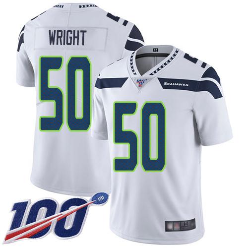 Men's Seattle Seahawks #50 K.J. Wright White Football Road Untouchable 100th Season Limited Jersey